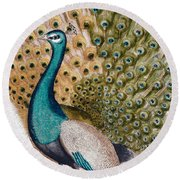 A Male Peacock In Full Display, 1763 Round Beach Towel