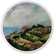 A Maltese Country Landscape Round Beach Towel