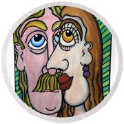 A Man And A Woman With Brown Eyes... - Un Homme Et Une Femme Aux Yeux Bruns... Round Beach Towel