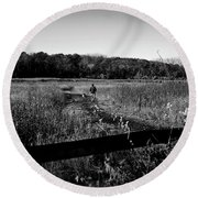 A Man And His Dog - Square Round Beach Towel