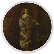 A Man In   Th Century Spanish Costume Round Beach Towel