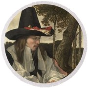 A Man Reading, Anonymous, C. 1660 Round Beach Towel