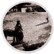 A Man With His Bride 1900s Round Beach Towel