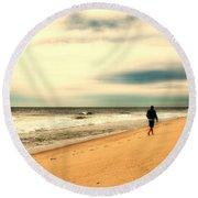 A Man's Serenity - Jersey Shore Round Beach Towel
