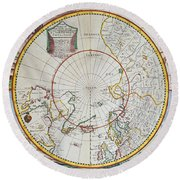 A Map Of The North Pole Round Beach Towel by John Seller