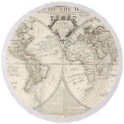 A Map Of The World Round Beach Towel