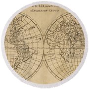 A Map Of The World With The Voyage Of Robinson Crusoe Round Beach Towel