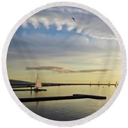 A Marine Lake At Dusk, West Kirby Round Beach Towel
