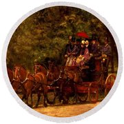 A May Morning In The Park The Fairman Robers Four In Hand 1880 Round Beach Towel