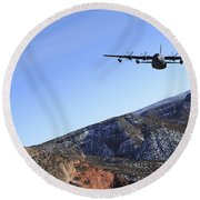 A Mc-130j Combat Shadow II Aircraft Round Beach Towel