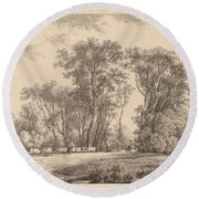 A Meadow With Cattle At The Edge Of A Wood Round Beach Towel