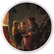 A Meal. Two Boys And A Grandmother Tasting The Potato Soup Round Beach Towel