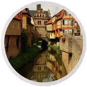 A Medieval Village In Germany Round Beach Towel