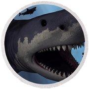 A Megalodon Shark From The Cenozoic Era Round Beach Towel