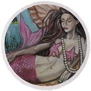 A Mermaid Named Pearl Round Beach Towel