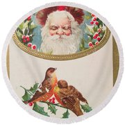 A Merry Christmas From Santa Claus Vintage Greeting Card With Robins Round Beach Towel