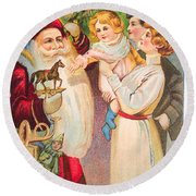 A Merry Christmas Vintage Card Santa And A Family Round Beach Towel