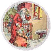 A Merry Christmas Vintage Greetings From Santa Claus And His Gifts Round Beach Towel