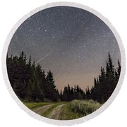A Meteor And The Big Dipper Round Beach Towel
