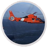 A Mh-65c Dolphin Helicopter Round Beach Towel