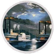 A Midnight Race On The Mississippi Round Beach Towel