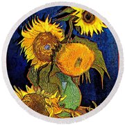A Modern Look At Vincent's Vase With 5 Sunflowers Round Beach Towel