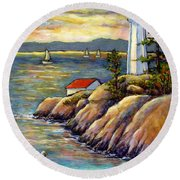 A Moment By The Sea Round Beach Towel