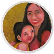 A Moment With Mom Round Beach Towel