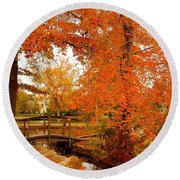 A Morning In Autumn - Lake Carasaljo Round Beach Towel