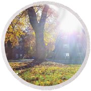 A Morning In Fall Round Beach Towel
