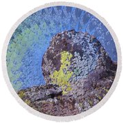 A Mossy Rock  Round Beach Towel