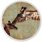 A Mother's Kiss Round Beach Towel