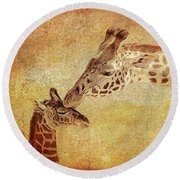 A Mother's Kiss Painted 2 Round Beach Towel