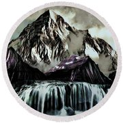 A Mountain To Think About Round Beach Towel