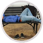 A Nap In The Park Round Beach Towel