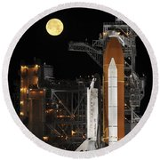 A Nearly Full Moon Sets As Space Round Beach Towel by Stocktrek Images