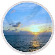 A New Dawn At Sea Round Beach Towel