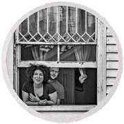 A New Orleans Greeting 2 Bw Round Beach Towel