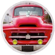 A Nice Red Truck  Round Beach Towel
