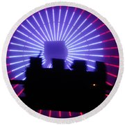 A Night At Santa Monica Pier Round Beach Towel