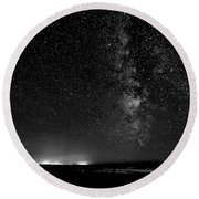 A Night At The Beach 11 Bw Round Beach Towel