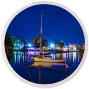 A Night At The Lake Round Beach Towel