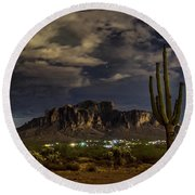 A Night In The Superstitions  Round Beach Towel