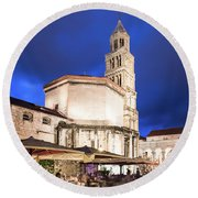 A Night View Of The Cathedral Of Saint Domnius In Split Round Beach Towel