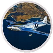 A North American P-51d Mustang Flying Round Beach Towel