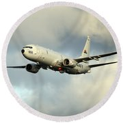 A P-8a Poseidon In Flight Round Beach Towel