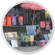 A Painting Artist Round Beach Towel