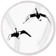 A Pair Of Geese Round Beach Towel