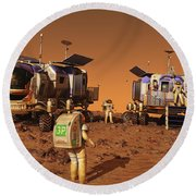 A Pair Of Manned Mars Rovers Rendezvous Round Beach Towel