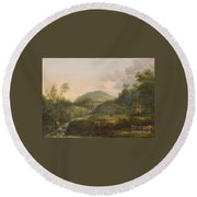 A Pair Of Mountain Landscapes With Staffage Round Beach Towel